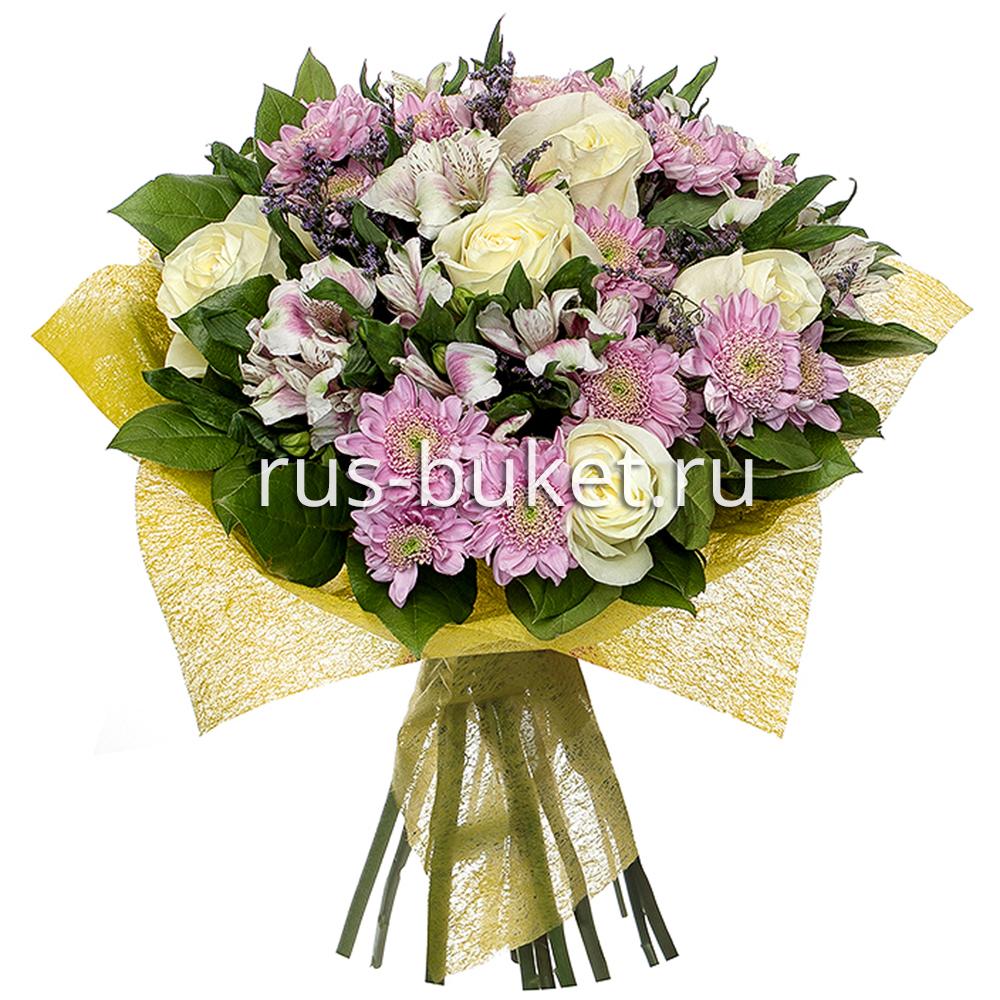 Роза белая 50см - 7, Альстромерии - 7, Хризантема кустовая - 5, Лимониум, Фетр, Лента, Салал
